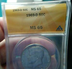 Kennedy Half Dollar , 1969-D , MS 65  , ANACS Certified #1544