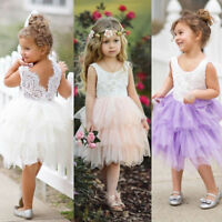 Toddler Flower Kid Baby Girl Backless Lace Tutu Party Wedding Pageant Prom Dress