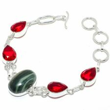 """Banded Lace Agate, Garnet 925 Sterling Silver Jewelry Bracelet 7-7.99"""" NM-LL-442"""