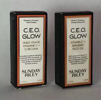 Lot 2 Sunday Riley CEO Glow Face Oil Travel Size 0.17 fl. oz.