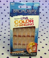 Broadway 54363 Color Changing Glue On 24 Nails SUNRISE Peace Sign Hearts SHORT