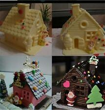 Christmas House Xmas Fondant Cake Mold Chocolate Decorating Baking Mould hggu