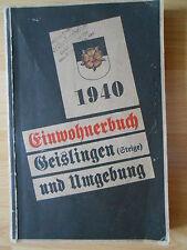 Carnet d'adresses 1940 Geislingen Amstetten ditzenbach überkingen deggingen Donzdorf