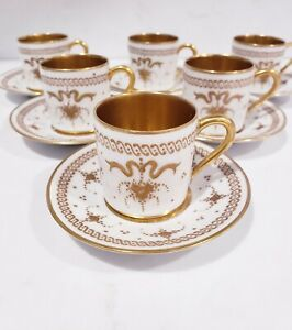6 Antique Heavy Gold Decorated Limoges Demitasse Cup & Saucer Gilded Ribbon