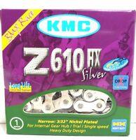 "KMC Z610HX Silver Heavy-Duty Bike Chain 3/32"" 7.8mm Single-Speed 113L BMX Fixed"