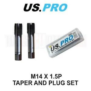 US PRO Tools M14 x 1.5mm Thread Taper & Plug Set - HSS Thread Repair Tap 2658