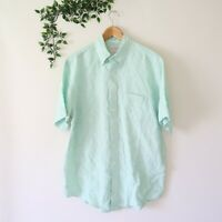 Brooks Brothers Men's Short Sleeve Button Front Linen Shirt M Medium Green