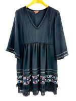 Ranna Gill Anthropologie Size L Embroidered Dress Boho Textured Lace Trim Aztec