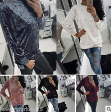 Damen Samt Pullover Pulli Velvet Sweater Sweatshirt Strickjacke Langarm Freizeit