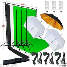 Photography Studio Lighting 9x10 Backdrop Stand Muslin Set Photo Light Kit