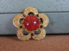 Costume Jewellery Brooch Gold tone pansy Shape  red Central stone . 4.5cm