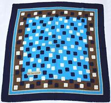 * YVES SAINT LAURENT YSL Sciarpa Di Seta-Blu, Bianco, Marrone Quadrati - 85 x 87 cm * (C36)