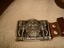 Budweiser Leather Belt with Chunky Metal Buckle 46""