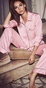 BNWT Victoria Secret Pink Satin Striped Pyjamas XS / 8 RRP £80