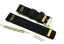 22mm Black Nylon Watch Strap Stainless Buckle + Spring Bar Remover Tool