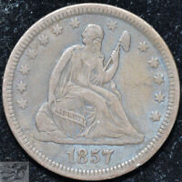 1857 Liberty Seated Quarter, Extremely Fine Condition, Toned Silver, C5071