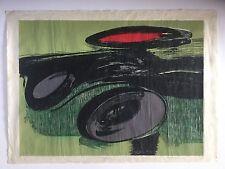 Angel Guzman, Signed Abstract Woodcut 1990, Caribbean Puerto Rico Art