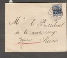 Germany Belgien 25 Centimes 1916 WWI POW cover Maubeuge to Red Cross Geneva