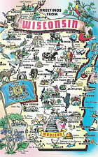 Greetings From  Wisconsin   State Outline  With Flag  WI  Postcard
