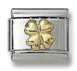 18K Gold Italian Charm Shamrock 9 mm Stainless Steel Modular Link 4 Leaf Clover