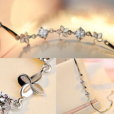 Crystal Lucky Clover Bracelets Jewelry c Women Silver Charm Chain Bangle White