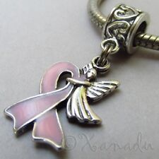 Pink Ribbon Breast Cancer Awareness Angel Bead For European Charm Bracelets