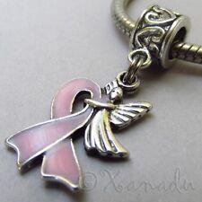 Pink Ribbon Breast Cancer Awareness Angel Bead For European Charm Bracelets