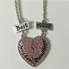 Two Part Necklace Mother Gift Mum Daughter Present Pink Diamond Heart Pendant Bf