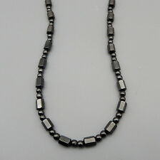 "Men Womens Choker Necklace 18"" Magnet Clasp Black Hematite Beads Strand"