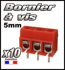 966R/10# Bornier à vis rouge  3 plots 10 pcs borniers CI -- pas 5mm