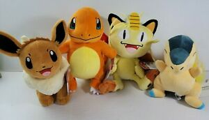 Pokemon Plush Lot of 4 Meowth Eevee Charmander WCT Wicked Cool Toys Cyndaquil