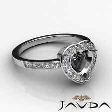 Diamond Engagement Halo Set Ring F-G Color 14k W Gold Heart Shape Semi Mount 1Ct