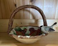 "VTG Fitz & Floyd 1993 8"" Handled Basket Candy Dish With Small Bird."
