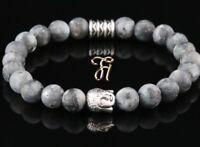 Larvikit grau matt Armband Bracelet Perlenarmband Buddhakopf silber 8mm