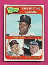 1965 TOPPS #1 OLIVA / ROBINSON / HOWARD BATTING LEADERS GOOD CARD (INV# C4190)