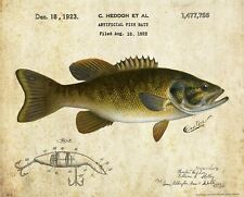Heddon Fishing Lure Patent Print Vintage Smallmouth Bass Fish Cabin Art Decor