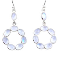 11.66cts Natural Rainbow Moonstone 925 Sterling Silver Dangle Earrings R64026