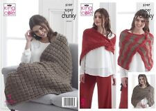 LADIES  WRAP BLANKET SHAWL  KNITTING PATTERN SUPER CHUNKY KING COLE 5197