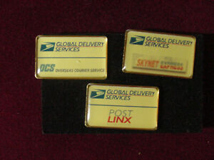 Vintage lot 3 united states postal services  lapel pin GLOBAL DELIVERY