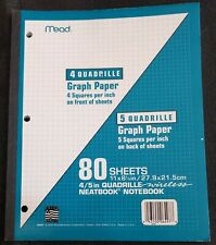 "Mead 2-in-1 Quad Ruled Wireless Neatbook Notebook 80 Sheets 11""x8.5"""