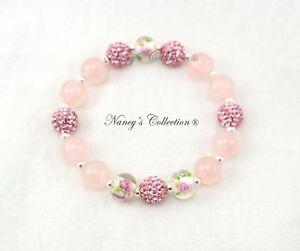 Exclusive Pink 10mm Rose Quartz Shamballa Elastic Bracelet Sterling Silver S925
