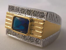 G-Filled Men's 18ct gold two tone simulated diamond blue sapphire ring Gents new