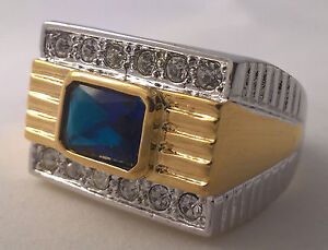 G-Filled 18ct gold two tone simulated diamond blue sapphire Men's ring Gents new
