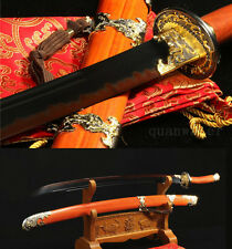 FULL TANG SHARP FOLDED STEEL CLAY TEMPERED BLACK BLADE CHINESE SWORD QING DAO 清刀
