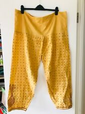 Yellow cotton trousers with embroidered spots and flowers LARGE