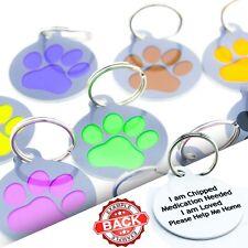 Paw Pet ID Tags - Fun Pet Tags Personalised Custom Metal Dog ID Disc For Collar