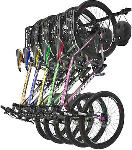 UMIEN Wall Mount Bike Rack with 5 Bike and 5 Helmet Capacity