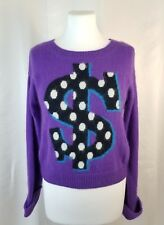 Divided H&M 2 Purple Angora Nylon Blend Sweater Polka Dot $ Dollar Sign On Front