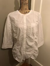CHICO'S Women's White Thin Striped Button Down Shirt Top Size 3