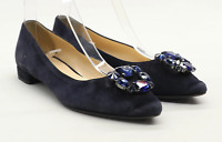 Mariso Womens EU Size 38 Blue Suede Embellished Dolly Shoes